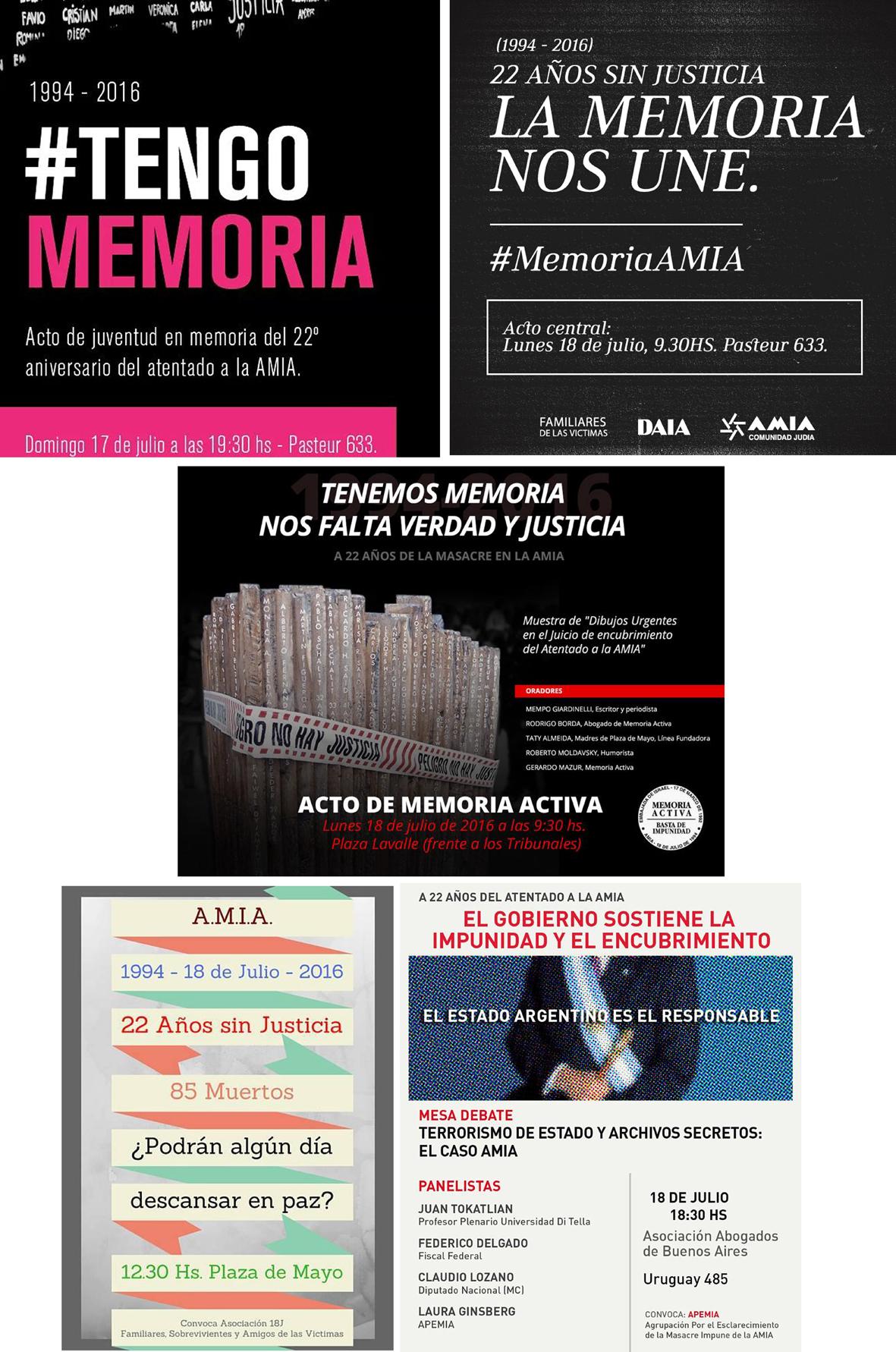 AMIA/Aniversario. Cinco actos en Buenos Aires y otros en el Interior recordarán los 22 años del atentado