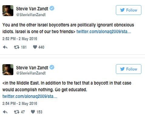 "Guitarrista de Bruce Springsteen: ""Boicoteadores de Israel son desagradables idiotas políticamente ignorantes"""