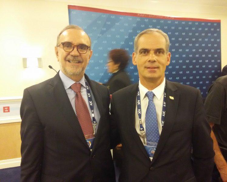 Embajador de México en Estados Unidos, Carlos Manuel Sada (izquierda);Embajador de Israel en México, Jonathan Peled (derecha)