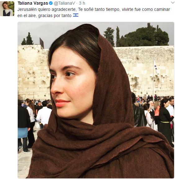 """Actriz colombiana Taliana Vargas pasa Semana Santa en Israel: """"Jerusalén fue como caminar en aire"""""""