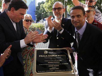 """Denominan """"Shimon Peres"""" a una plaza de Copacabana"""