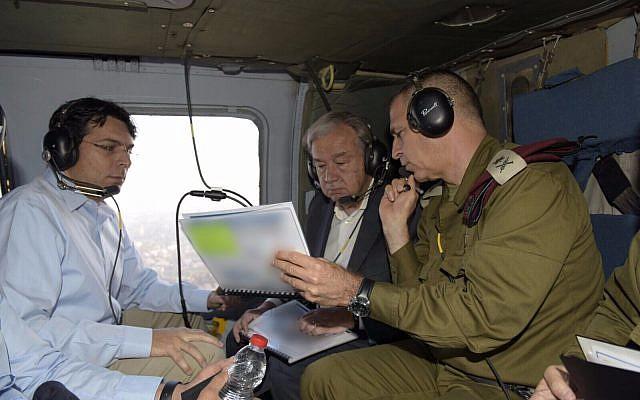 El secretario general de la ONU visitó la Franja de Gaza y su frontera con Israel