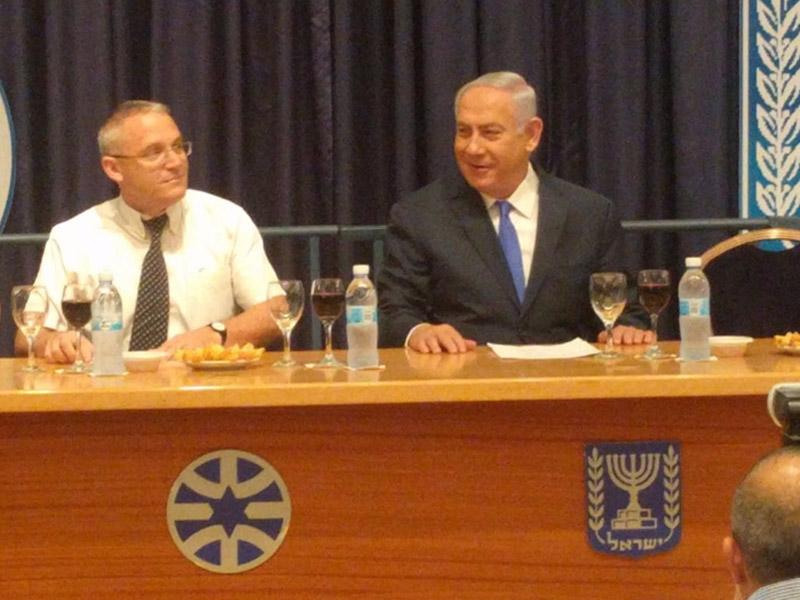 PM Netanyahu with Amb. Hanan Goder at the MFA Rosh Hashanah toast
