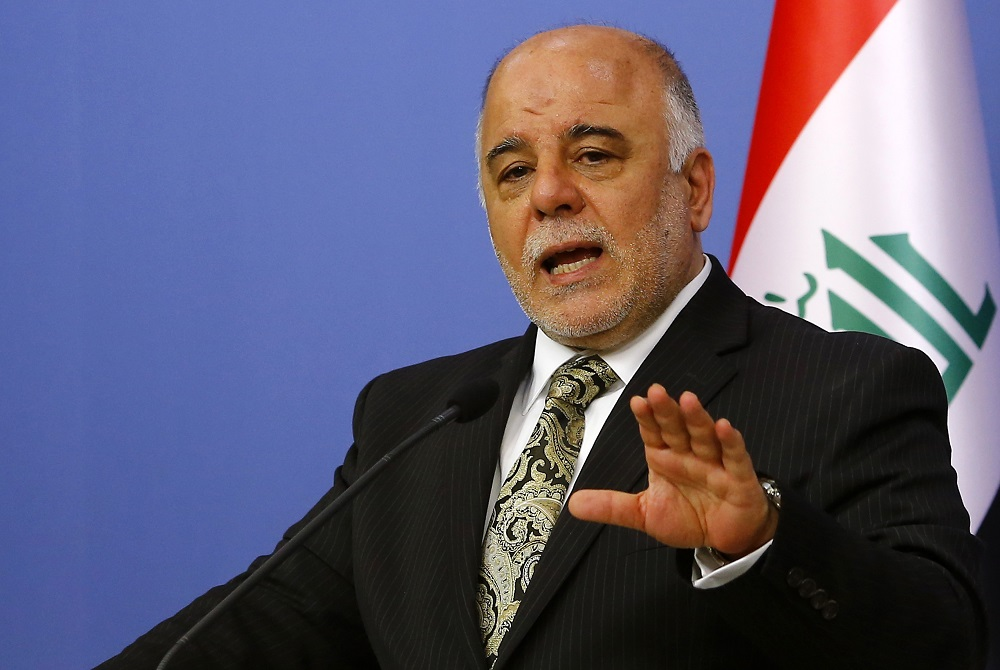Iraqi Prime Minister Haider al-Abadi addresses the media in Ankara
