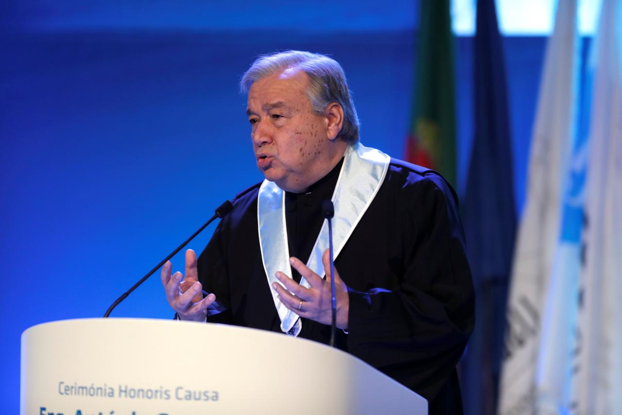 U.N. Secretary General Antonio Guterres gives a speech during a ceremony at Lisbon University where Guterres received his honoris causa degree