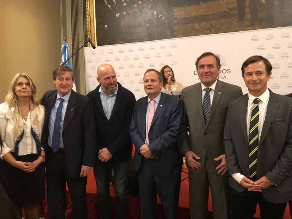 Los diputados Schmidt-Liermann, Pablo Torello y Wolff; Sztulman y los diputados Juan Aicega y Daniel Lipoveztky