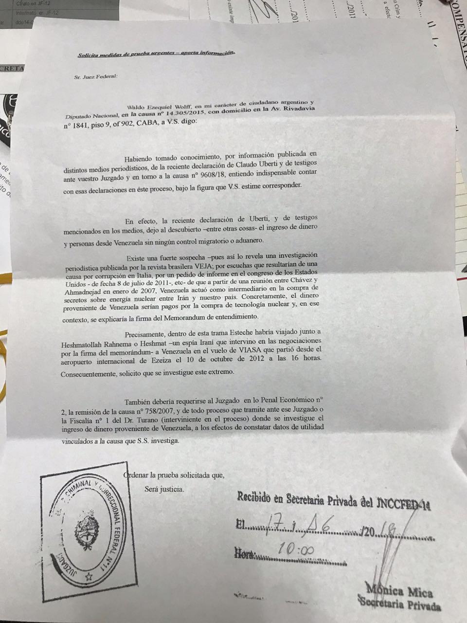 El diputado Wolff presentó un escrito ante el juez Bonadio