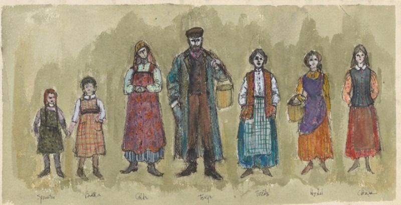 Dibujo original de la familia del violinista.