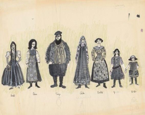 Golde, Tevye y sus hijas en escala de grises.