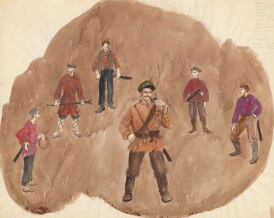 Los trajes distintivos de los campesinos rusos no judíos.