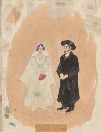 Motel y Tzeital en sus trajes de boda.