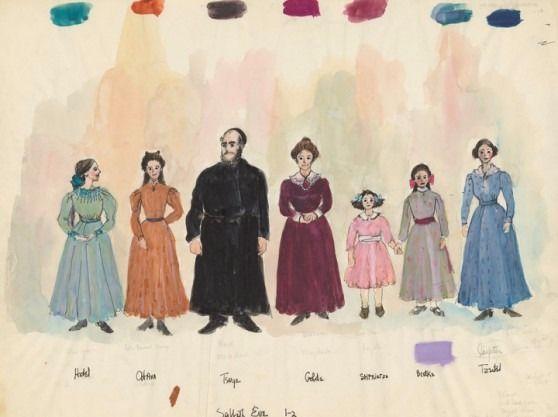 Tevye y su familia vestidos para Shabat