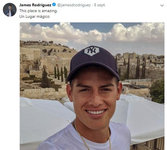 James Rodríguez visitó Israel y borró un tweet después de los comentarios que le hicieron en las redes