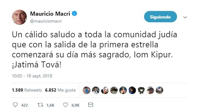 """Macri deseó un """"Jatimá Tová"""" a la comunidad judía por Iom Kipur"""