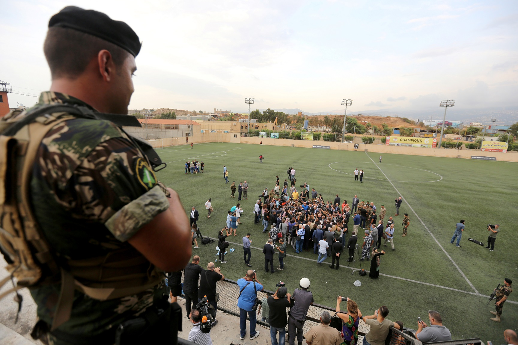 A lebanese army soldier stands guard during a tour for diplomats and journalists near the airport in Beirut