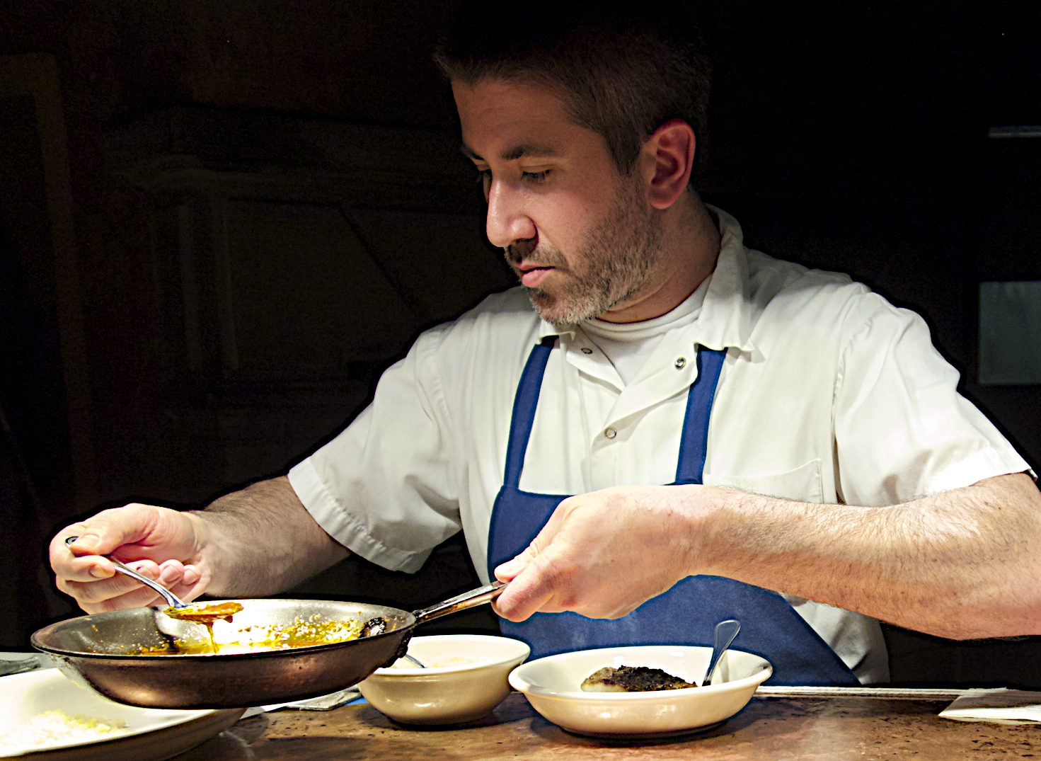 Chef Michael Solomonov cooking at Zahav Restaurant, Philadelphia