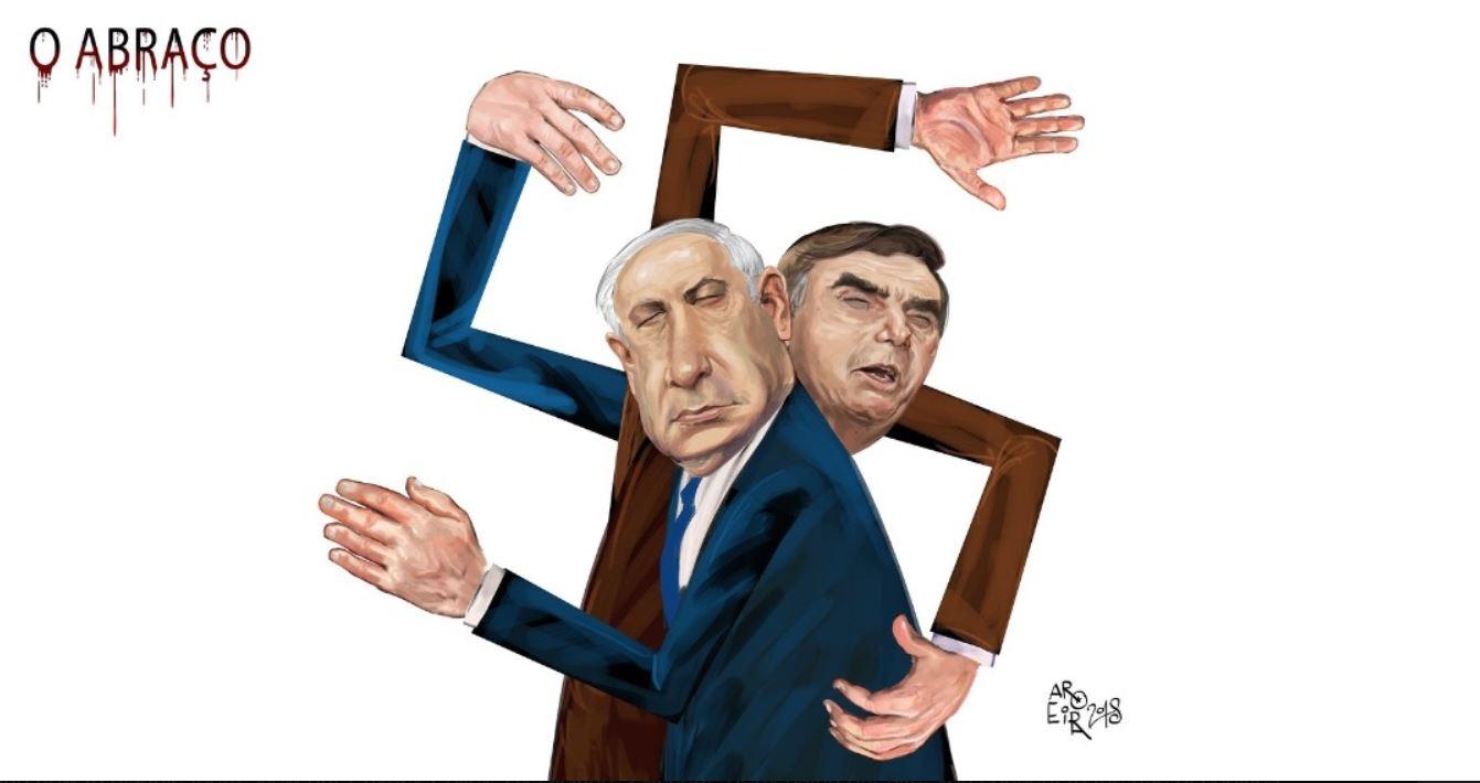 caricatura abrazo nazi