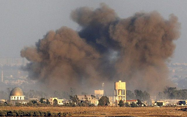 bombardeo siria golan