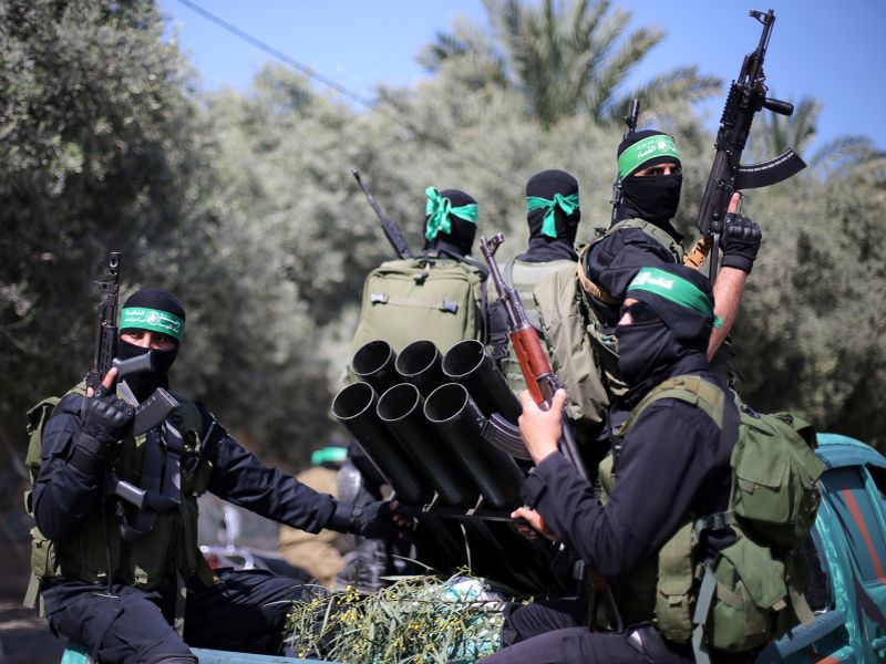 Palestinian Hamas militants attend a military drill in preparation to any upcoming confrontation with Israel, in the southern Gaza Strip