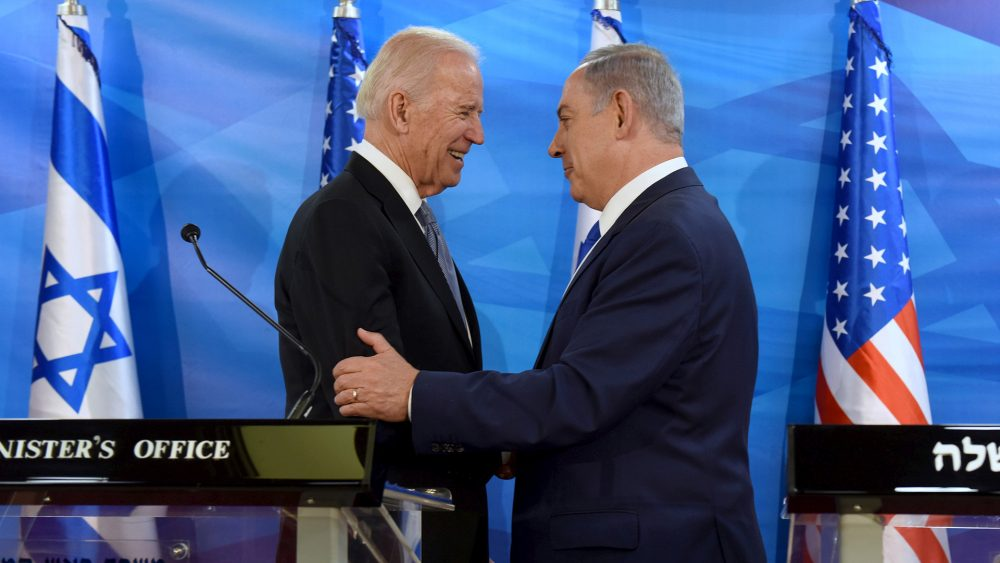 FILE PHOTO: U.S. Vice President Biden shakes hands with Israeli Prime Minister Netanyahu as they deliver joint statements during their meeting in Jerusalem