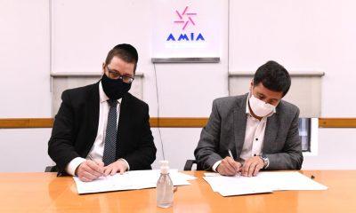 Ariel Eichbaum, presidente de AMIA, y Daniel Arroyo, Ministro de Desarrollo de la Nación. (1)
