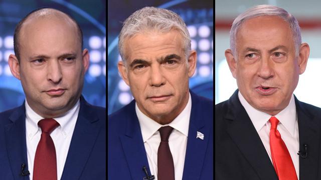 Naftali Benet, Yair Lapid y Benjamin Netanyahu