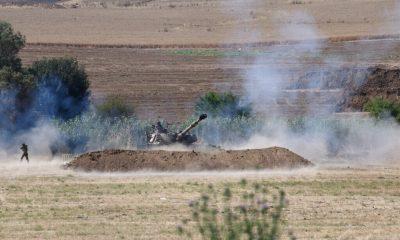 An IDF artillery unit fires towards Gaza Strip near the Israel-Gaza border