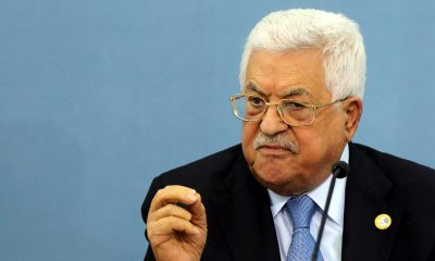 Palestinian President Mahmoud Abbas speaks during a meeting with Foreign press correspondents