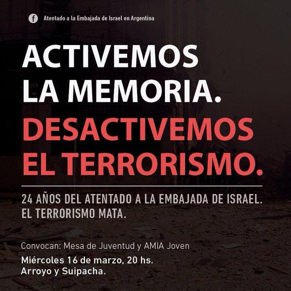 Atentado/Embajada. Mañana se cumplirán 24 años y habrá dos actos alusivos, con un ministro israelí