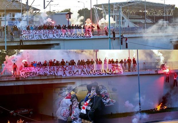 Antisemitismo. Barras bravas de un equipo de fútbol de Lodz manifiestan con pancarta y muñecos incendiados