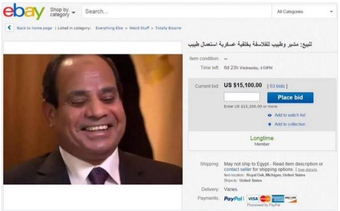 """Medio Oriente. Egipcios ponen """"en venta"""" en eBay al presidente Al Sisi"""