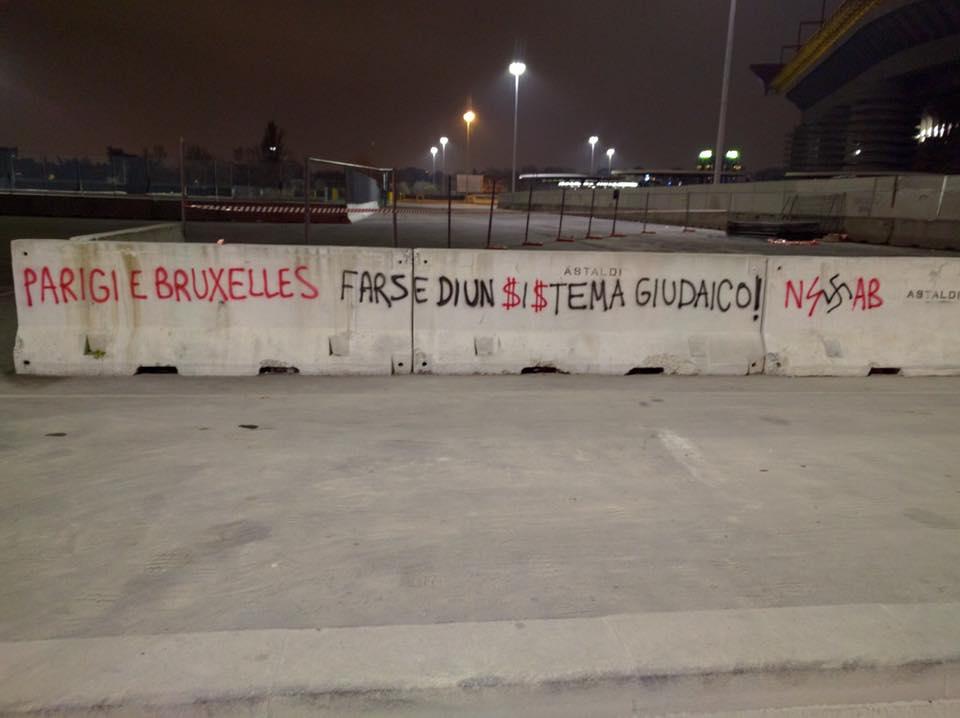 Se encontró un grafiti en Italia que culpa a los judíos de los ataques de Bruselas y París